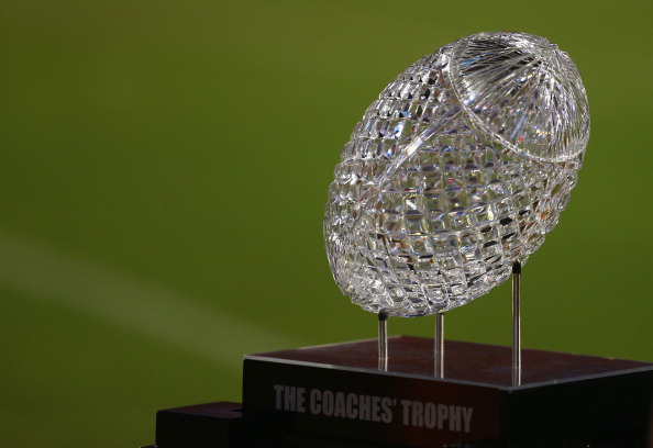 CLEMSON, SC - AUGUST 31:  A view of the BCS National Championship Trophy during their game at Memorial Stadium on August 31, 2013 in Clemson, South Carolina.  (Photo by Streeter Lecka/Getty Images)