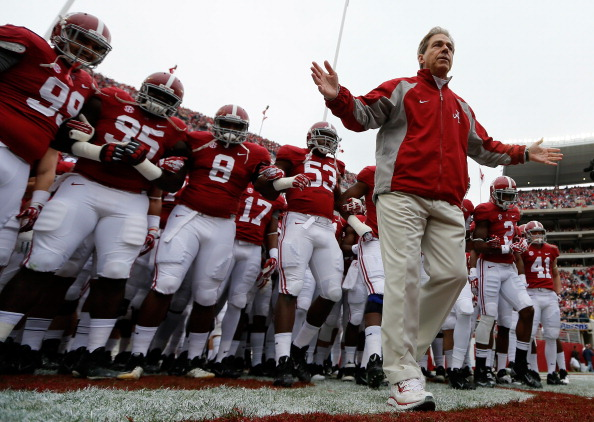 TUSCALOOSA, AL - NOVEMBER 23:  Head coach Nick Saban of the Alabama Crimson Tide leads his team on the field to face the Chattanooga Mocs at Bryant-Denny Stadium on November 23, 2013 in Tuscaloosa, Alabama.  (Photo by Kevin C. Cox/Getty Images)
