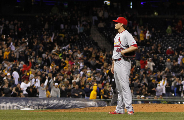 PITTSBURGH, PA - APRIL 04:  Shelby Miller #40 of the St. Louis Cardinals reacts after allowing two home runs in the fourth inning against the Pittsburgh Pirates during the game at PNC Park April 4, 2014 in Pittsburgh, Pennsylvania.