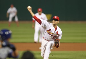 St. Louis Cardinals starting pitcher Joe Kelly delivers a pitch to the Chicago Cubs in the third inning at Busch Stadium in St. Louis on April 11 2014.    UPI/Bill Greenblatt
