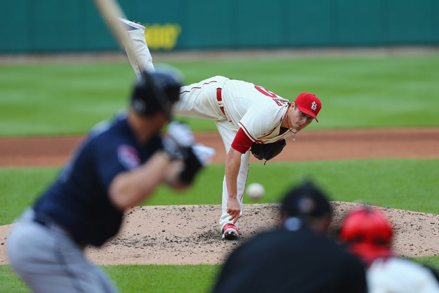 ST. LOUIS, MO - MAY 17: Starter Shelby Miller #40 of the St. Louis Cardinals pitches against the Atlanta Braves at Busch Stadium on May 17, 2014 in St. Louis, Missouri.