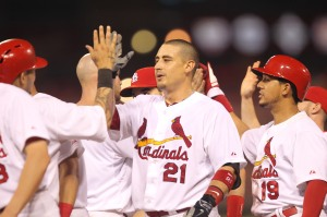 St. Louis Cardinals Allen Craig is congratulated by teammates after hitting a  ball to score the winning run against the Arizona Diamondbacks in the twelveth inning at Busch Stadium in St. Louis on May 21, 2014. St. Louis won the game 3-2.  UPI/Bill Greenblatt
