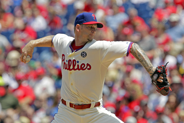 PHILADELPHIA - MAY 25: Starting pitcher A.J. Burnett #34 of the Philadelphia Phillies throws a pitch in the first inning during a game against the Los Angeles Dodgers at Citizens Bank Park on May 25, 2014 in Philadelphia, Pennsylvania.
