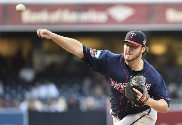 SAN DIEGO, CA - MAY 21:  Phil Hughes #45 of the Minnesota Twins pitches during the first inning of a  baseball game against the San Diego Padres at Petco Park May 21, 2014 in San Diego, California.