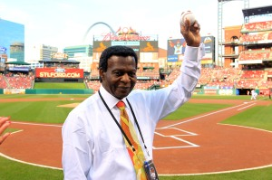 Former St. Louis Cardinals and member of the National Baseball Hall of Fame Lou Brock is introduced before the New York Mets-St. Louis Cardinals baseball game at Busch Stadium in St. Louis on June 17, 2014. Brock is celebrating his 75th birthday at the ballpark. UPI/Bill Greenblatt