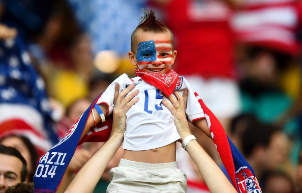 Fans of the United States pose during the 2014 FIFA World Cup Brazil Round of 16 match between Belgium and the United States (credit: Jamie McDonald/Getty Images)