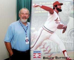 COOPERSTOWN, NY - JULY 29:  2006 Hall of Fame inductee Bruce Sutter poses next to a picture of himself after a press conference at Bassett Hall during the Baseball Hall of Fame weekend on July 29, 2006 in Cooperstown, New York.  (Photo by Jim McIsaac/Getty Images)