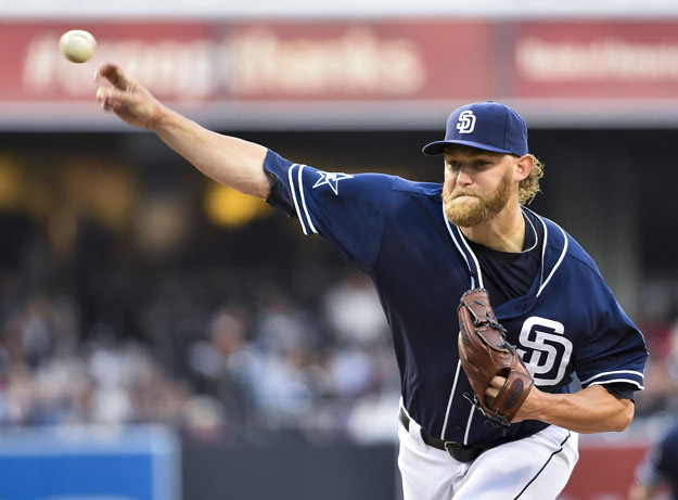SAN DIEGO, CA - JUNE 7:  Andrew Cashner #34 of the San Diego Padres pitches during the first inning of a baseball game against the Washington Nationals at Petco Park on June 7, 2014 in San Diego, California.