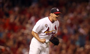 St. Louis Cardinals pitcher Trevor Rosenthal gives out a yell as he gets Miami Marlins Casey McGehee to ground into a double play to end the game at Busch Stadium in St. Louis on July 4, 2014. St. Louis won the game 3-2.  UPI/Bill Greenblatt