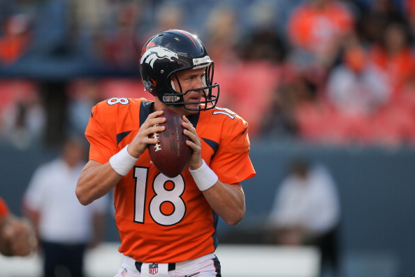 Quarterback Peyton Manning #18 of the Denver Broncos drops back to throw during team warm ups before a preseason game against the Seattle Seahawks at Sports Authority Field at Mile High on August 7, 2014 in Denver, Colorado.  (Photo by Doug Pensinger/Getty Images)
