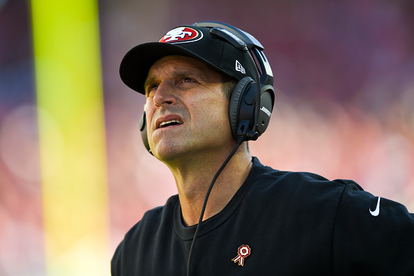 SANTA CLARA, CA - NOVEMBER 02: Head coach Jim Harbaugh of the San Francisco 49ers looks on from the sidelines against the St. Louis Rams during the first quarter at Levi's Stadium on November 2, 2014 in Santa Clara, California.  (Photo by Thearon W. Henderson/Getty Images)