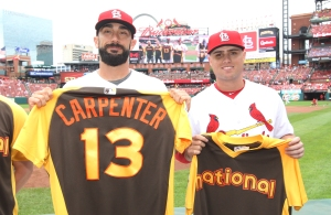 St. Louis Cardinals All Stars Matt Carpenter (L) and Aledmys Diaz, are presented with their 2016 National League All Star jerseys before a game against the Pittsburgh Pirates at Busch Stadium in St. Louis on July 7, 2016. Diaz was selected to replace Carpenter on July 7, 2016, after Carpenter injured himself in a game on July 6, 2016. Photo by Bill Greenblatt/UPI