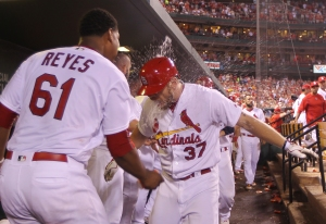St. Louis Cardinals Brandon Moss gets a facefull of water from pitcher Alex Reyes after hitting a go ahead two run home run in the sixth inning against the Chicago Cubs at Busch Stadium in St. Louis on September 13, 2016. Photo by Bill Greenblatt/UPI
