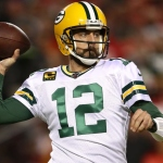Aaron Rodgers #12 of the Green Bay Packers looks to pass against the Kansas City Chiefs during their NFL game at Arrowhead Stadium on October 27, 2019 in Kansas City, Missouri